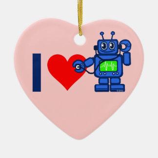 I heart robot ceramic ornament
