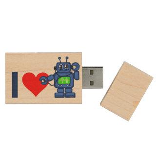 I heart robot, robot listen to heart wood USB 2.0 flash drive