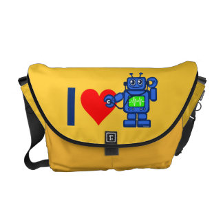 I heart robot, robot listen to heart messenger bag