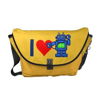 I heart robot, robot listen to heart messenger bag