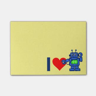 I heart robot, robot listen to heart post-it notes