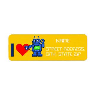 I heart robot, robot listen to heart return address label