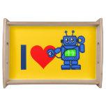 I heart robot, robot listen to heart serving tray