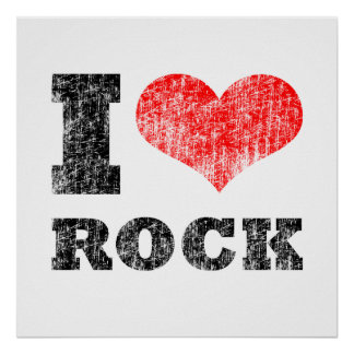 I Heart Rock Distressed Poster