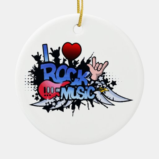 I Heart Rock Music Double-Sided Ceramic Round Christmas Ornament