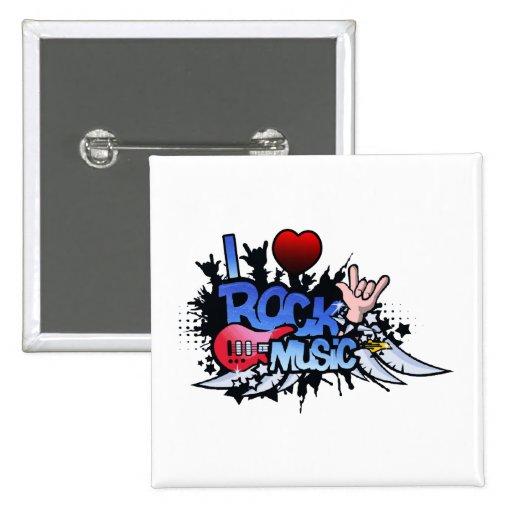 I Heart Rock Music Pin