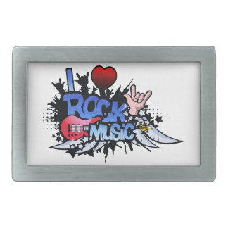 I Heart Rock Music Rectangular Belt Buckle