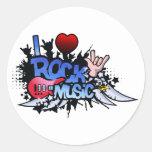 I Heart Rock Music Round Sticker