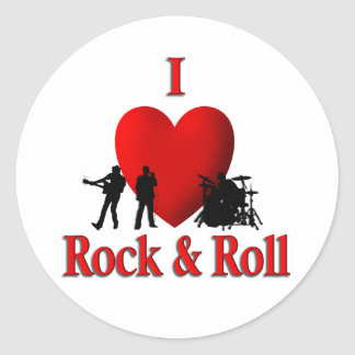 I Heart Rock & Roll Classic Round Sticker