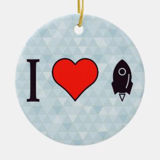 I Heart Rocket Ships Ceramic Ornament