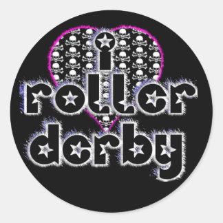 I heart roller derby classic round sticker