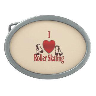 I Heart Roller Skating Oval Belt Buckle