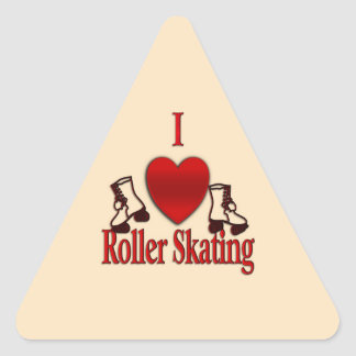 I Heart Roller Skating Triangle Sticker