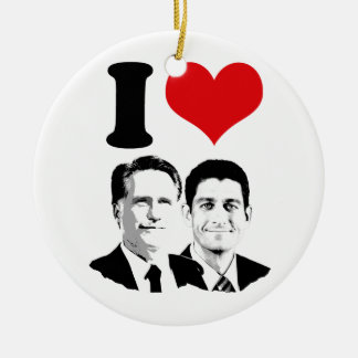 I HEART ROMNEY RYAN -.png Double-Sided Ceramic Round Christmas Ornament