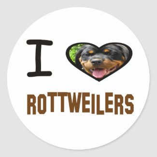 I heart Rottweilers Classic Round Sticker