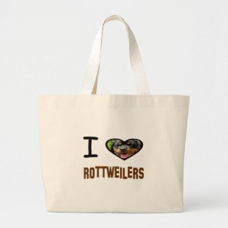 I heart Rottweilers Large Tote Bag