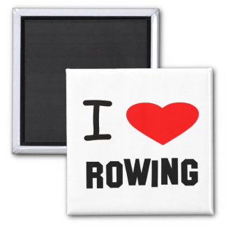 I Heart rowing 2 Inch Square Magnet