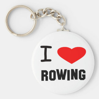 I Heart rowing Basic Round Button Keychain