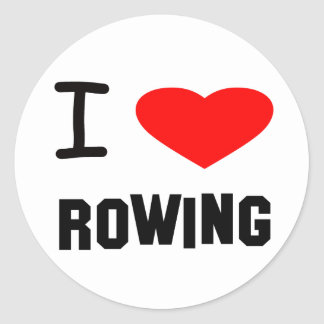 I Heart rowing Classic Round Sticker