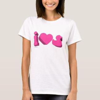 I Heart Rubber Ducks 3D (Girlie) T-Shirt