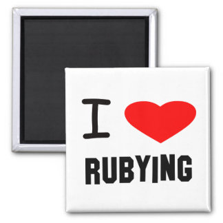 I Heart rubying 2 Inch Square Magnet