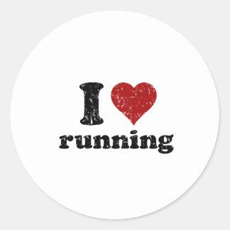 I heart running classic round sticker