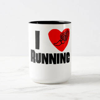 I Heart Running Two-Tone Coffee Mug
