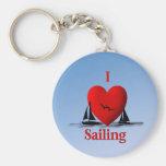 I Heart Sailing  ... blue Keychains