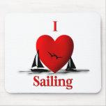 I Heart Sailing  ... blue Mouse Pads
