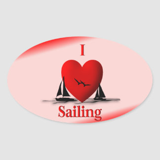 I Heart Sailing  ... blue Stickers