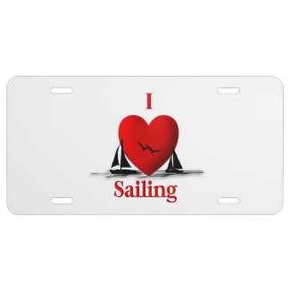 I Heart Sailing License Plate