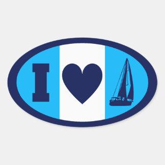 I Heart Sailing Oval Sticker