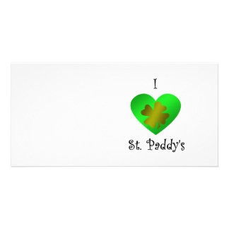 I heart Saint paddy s in gold and green Customized Photo Card