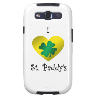 I heart Saint paddy s in green and gold Samsung Galaxy S3 Case
