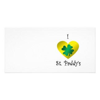 I heart Saint paddy s in green and gold Custom Photo Card