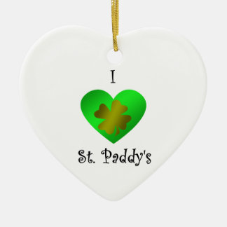 I heart Saint paddy's in gold and green Christmas Ornament