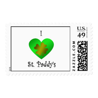 I heart Saint paddy's in gold and green Postage