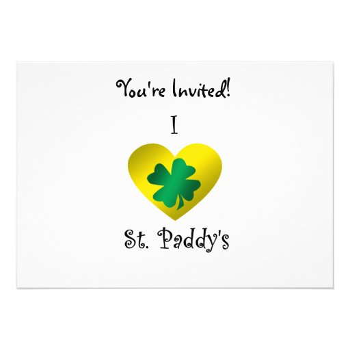 I heart Saint paddy's in green and gold Custom Invitations