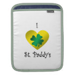 I heart Saint paddy's in green and gold iPad Sleeves
