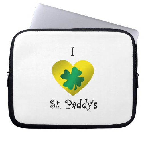 I heart Saint paddy's in green and gold Laptop Sleeve