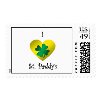 I heart Saint paddy's in green and gold Postage