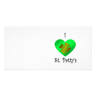 I heart Saint patty s in gold and green Personalized Photo Card