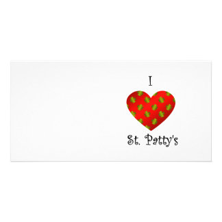 I heart Saint patty s in gold and red Photo Card