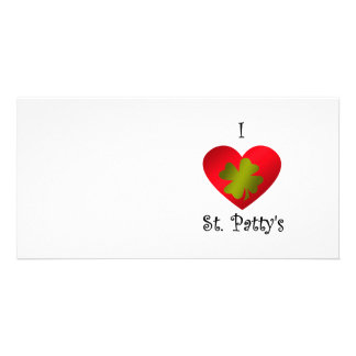 I heart Saint patty s in gold and red Personalized Photo Card