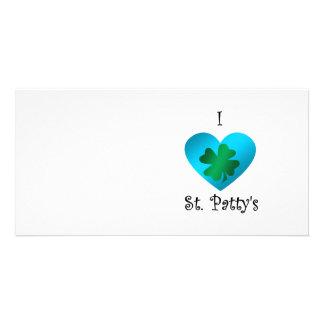 I heart Saint patty s in green and blue Custom Photo Card