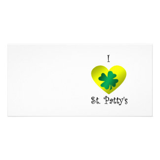 I heart Saint patty s in green and gold Customized Photo Card