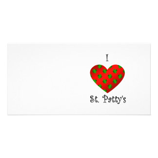 I heart Saint patty s in green and red Photo Card