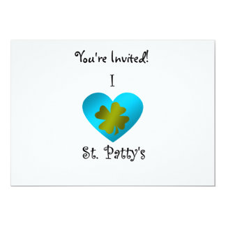 "I heart saint patty's in gold and blue 5"" x 7"" invitation card"