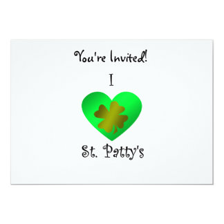 "I heart Saint patty's in gold and green 5"" X 7"" Invitation Card"