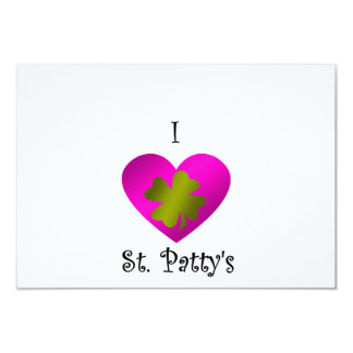"I heart Saint patty's in gold and pink 3.5"" X 5"" Invitation Card"